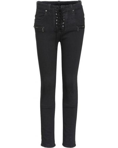 Czarny bawełna zawężony obcisłe dżinsy z kieszeniami Unravel