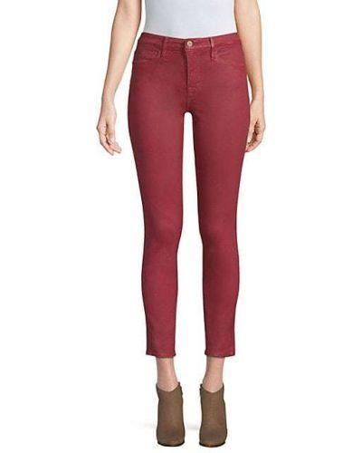 Хлопковые зауженные укороченные джинсы с карманами Frame Denim