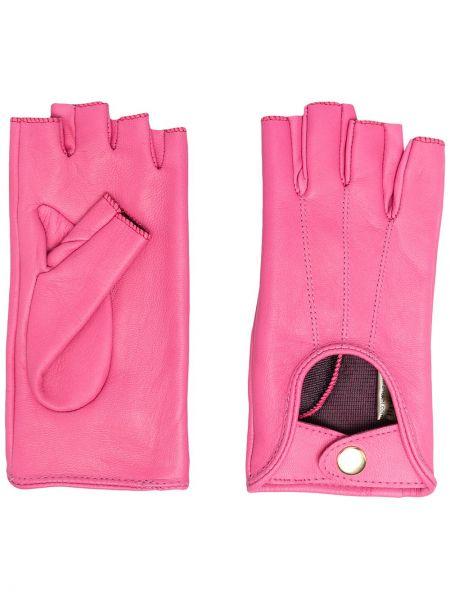 Różowe rękawiczki bez palców skorzane Manokhi