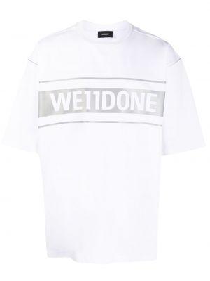 Белая хлопковая футболка оверсайз с нашивками We11done