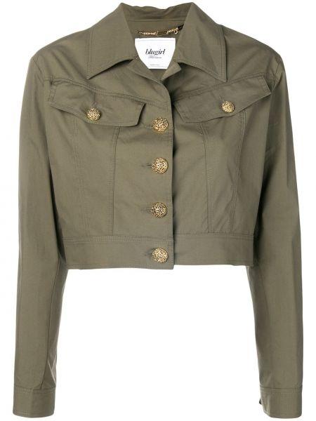 Зеленый удлиненный пиджак с карманами с воротником Blugirl
