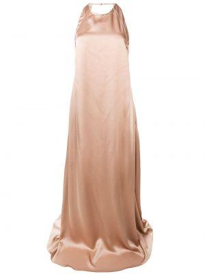 Розовое тонкое вечернее платье с открытой спиной на бретелях Rochas