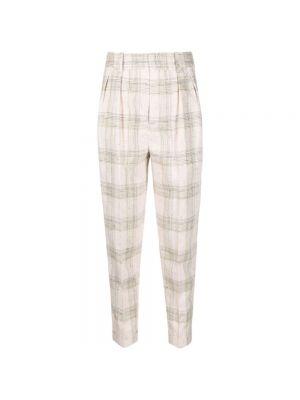 Spodnie w kratę - beżowe Isabel Marant