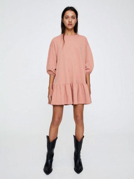 Платье розовое осеннее Pull&bear