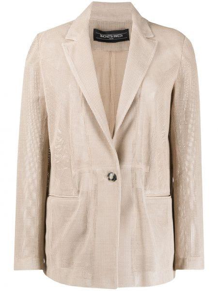Кожаный пиджак с карманами на пуговицах Simonetta Ravizza