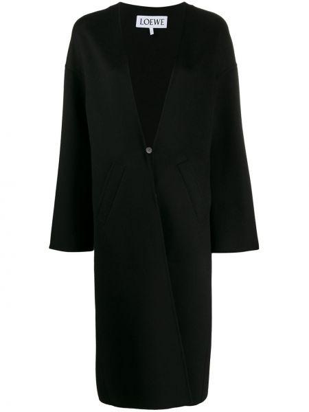 Черное кашемировое длинное пальто с капюшоном Loewe