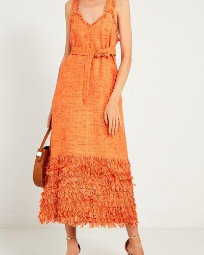 Платье с поясом с декольте с бахромой Laroom