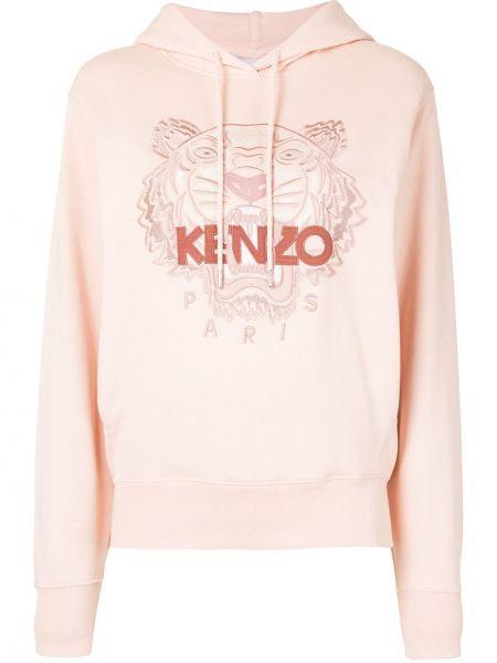 Różowy bluza z kapturem z haftem z długimi rękawami Kenzo