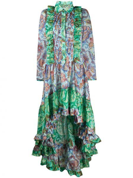 Зеленое платье с оборками на пуговицах с воротником Evi Grintela