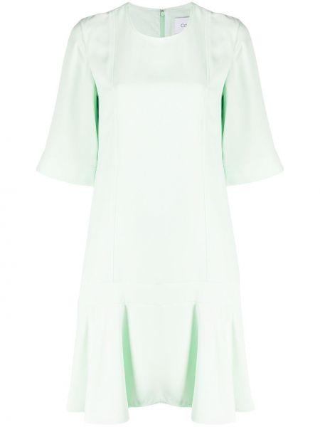 Свободное с рукавами зеленое платье мини Calvin Klein
