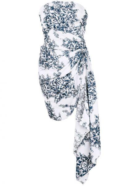 Платье мини с цветочным принтом в рубчик Oscar De La Renta