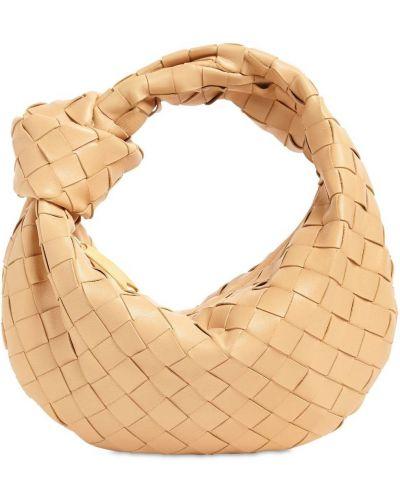 Кожаная маленькая сумка на молнии с подкладкой Bottega Veneta