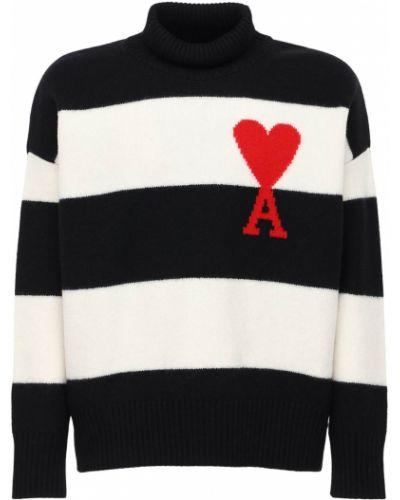 Wełniany czarny sweter Ami Alexandre Mattiussi