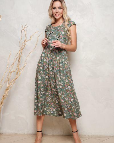 Платье из штапеля со складками на молнии Leleya