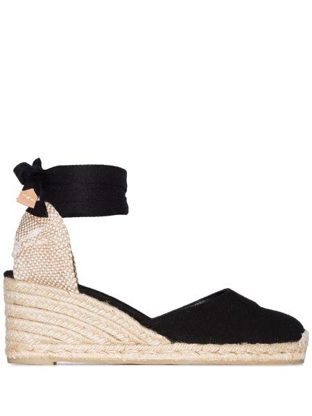 Czarne sandały na koturnie bawełniane Castaner