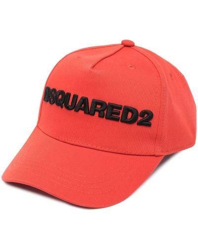 Pomarańczowy bawełna czapka baseballowa z haftem Dsquared2
