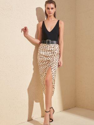 Satynowa beżowa spódnica Trendyol
