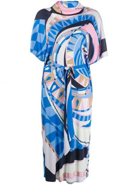 Платье миди с абстрактным принтом с рукавами Emilio Pucci