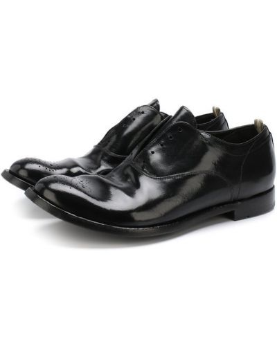 Черные кожаные туфли без шнуровки Officine Creative