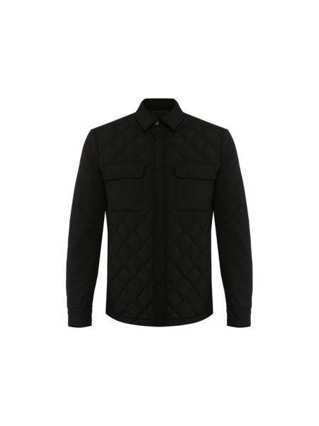 Кожаная черная стеганая куртка с декоративной отделкой с карманами Ermenegildo Zegna