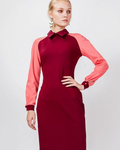 Платье миди бордовый красный мадам т