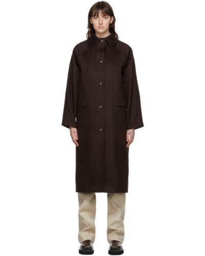 Коричневое шерстяное длинное пальто с воротником Kassl Editions