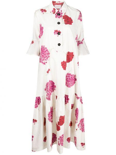 Расклешенное классическое платье на пуговицах с воротником La Doublej