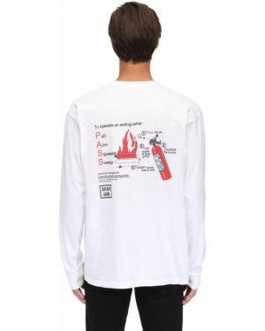 Biały t-shirt z długimi rękawami bawełniany An An Ann