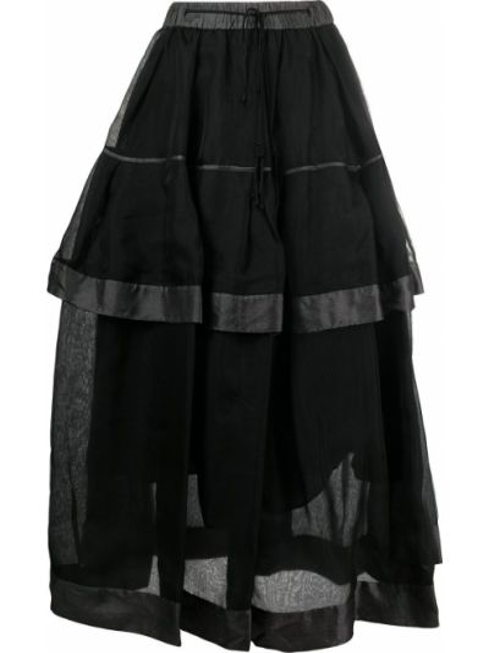 С кулиской хлопковая черная с завышенной талией юбка миди Renli Su