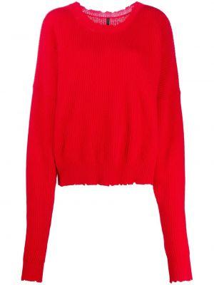 Красный шерстяной джемпер в рубчик с круглым вырезом Unravel Project