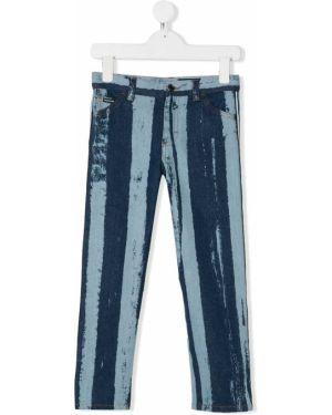 Синие кожаные джинсы классические Dolce & Gabbana Kids
