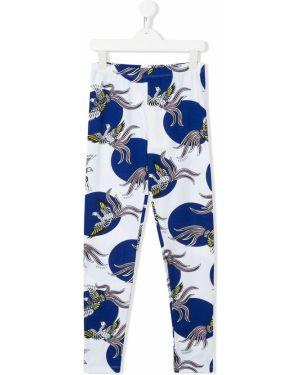 Niebieskie legginsy bawełniane z printem Kenzo Kids