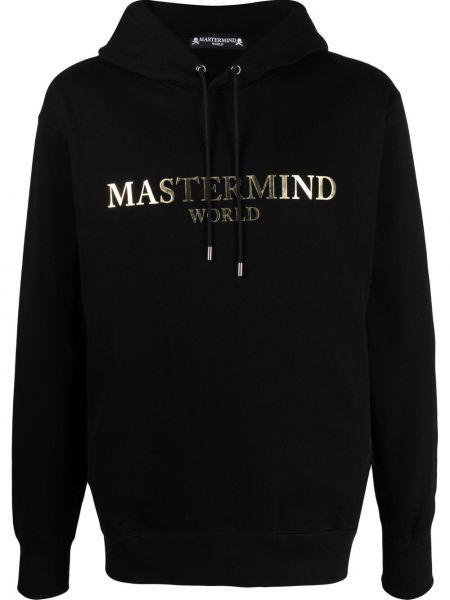 Czarna bluza długa z kapturem bawełniana Mastermind World