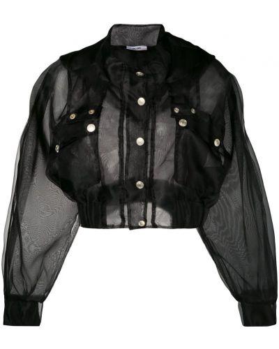 Черная короткая куртка на пуговицах из фатина Gcds