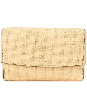 Beżowa kopertówka skórzana z haftem Chanel Pre-owned