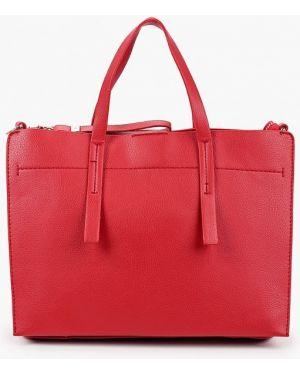 Кожаная сумка с ручками красная Code