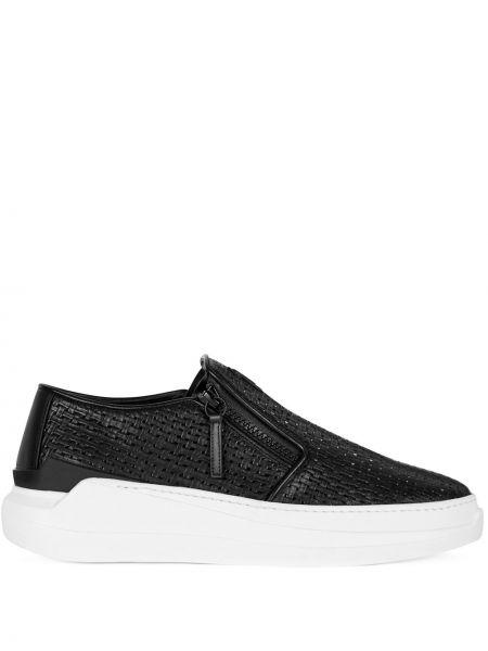 Skórzany czarny sneakersy okrągły Giuseppe Zanotti