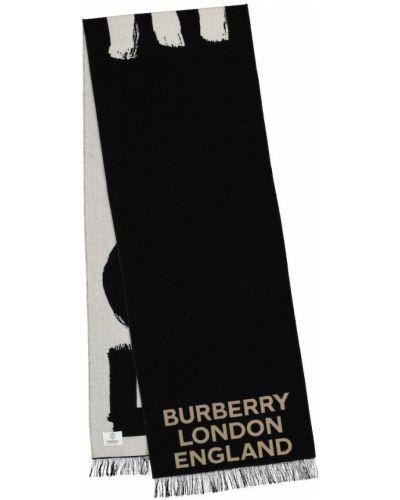 Черный шелковый шарф свободного кроя Burberry