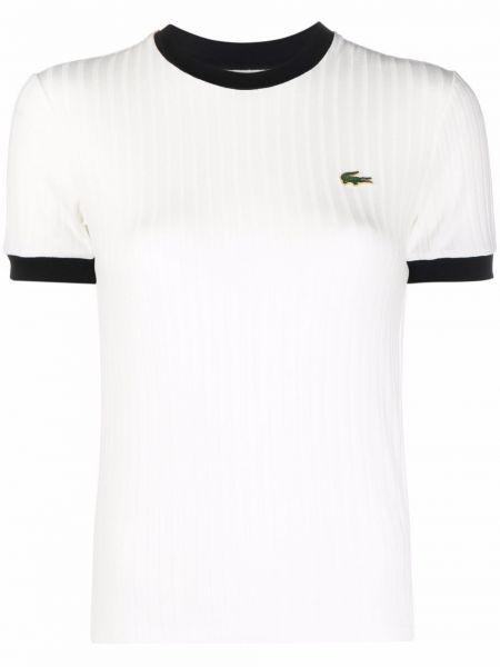Biała t-shirt bawełniana Lacoste Live