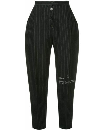 Укороченные брюки в полоску черные Ruban