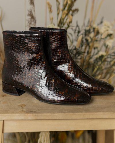 Кожаные коричневые ботильоны на каблуке Vagabond