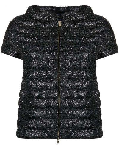 Черная пуховая дутая куртка с короткими рукавами Herno