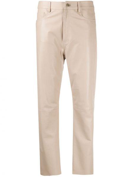 Кожаные бежевые классические брюки с карманами с высокой посадкой Drome