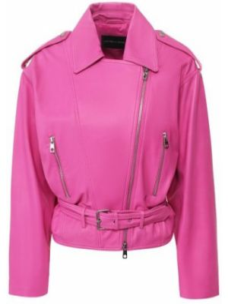Кожаная куртка однотонная фуксия Emporio Armani