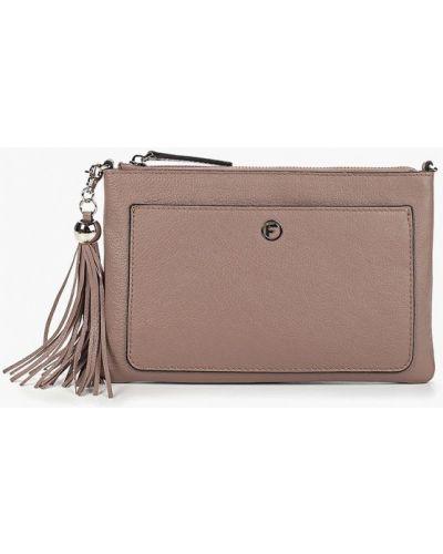 Кожаный сумка через плечо розовый Fabretti