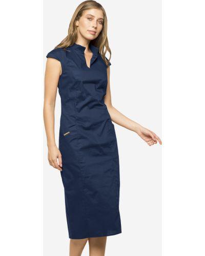 Синее платье-футляр с воротником с карманами Modniy Oazis