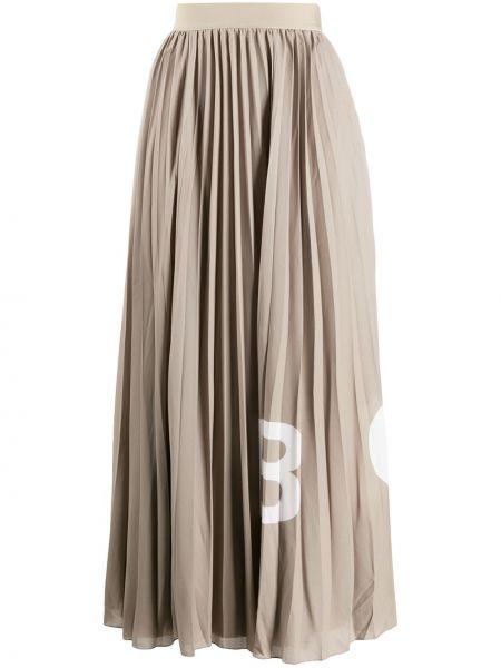 Плиссированная хлопковая с завышенной талией юбка миди Boss Hugo Boss