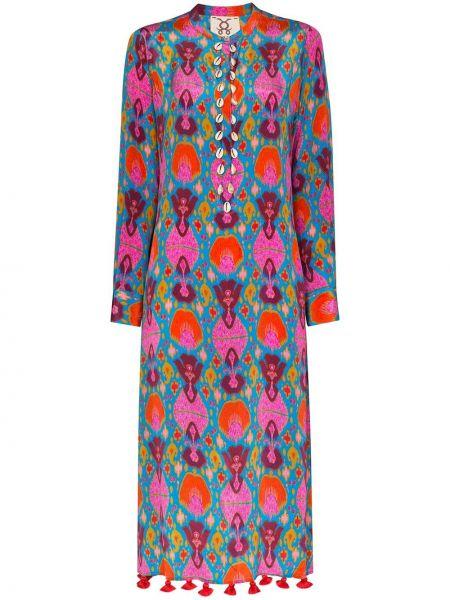Платье миди с принтом - красное Figue