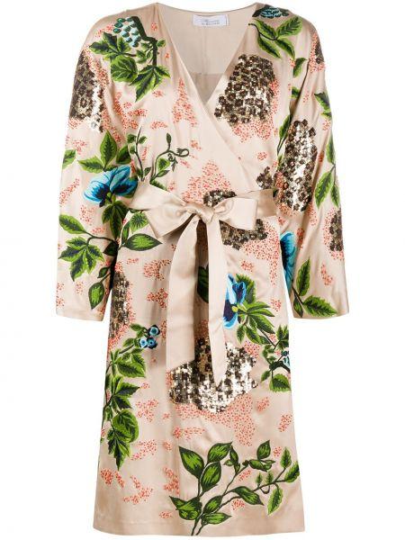 Платье миди с пайетками с запахом Blumarine