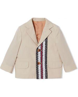 Классический пиджак на пуговицах с карманами с лацканами Burberry Kids